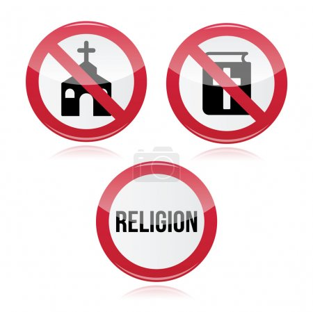 No religion, no church, no bible red warning sign