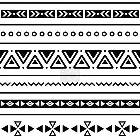 Illustration for Vector seamless aztec ornament, ethnic pattern - Royalty Free Image