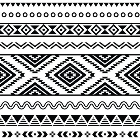 Photo for Vector seamless aztec ornament, ethnic pattern - Royalty Free Image