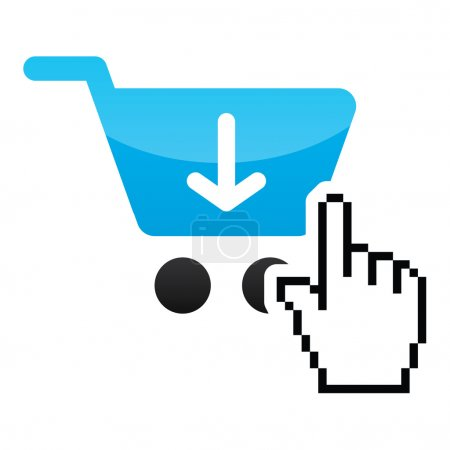 Illustration for Pixelated cursor hand over shopping cart - buying online - Royalty Free Image