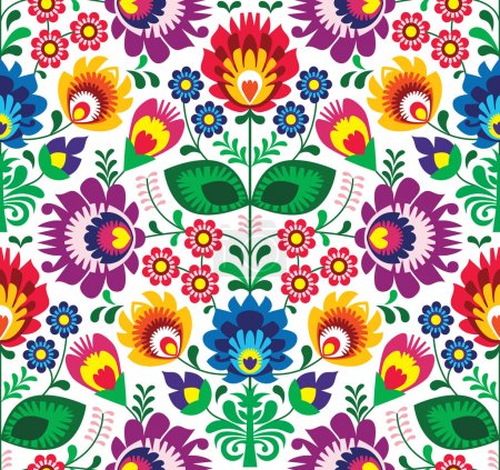 Photo for Repetitive colorful background - polish folk art pattern - Royalty Free Image