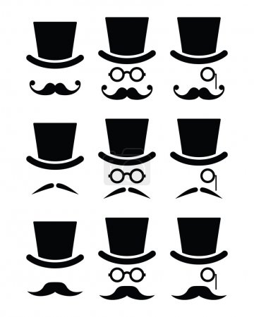 Illustration for Senior, gentleman with mustache and glasses icons isolated on white - Royalty Free Image
