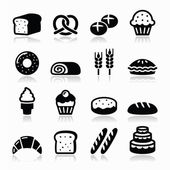 Vector icons set isolated on white - baking food restaurant concept