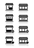 Single shop store supermarket vector icons set