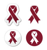 Burgundy ribbon symbol of brain aneurysm Cesarean section headaches