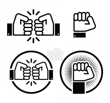 Fist, fist bump vector icons set