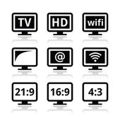 HD tv wireless web televistion icons set isolated on white