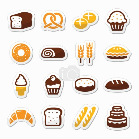 Illustration pour Étiquettes vectorielles isolées sur blanc - cuisson, nourriture, concept de restaurant - image libre de droit