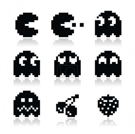 Pacman, ghosts, 8bit retro game icons set