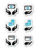 Hands with money coins vector icons set
