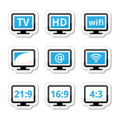 HD tv wireless web televistion black and blue labels set isolated on white