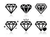 Jewelery diamond black icons set with reflection isolated on white