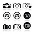 Take picture, camera icons set isolated on white...