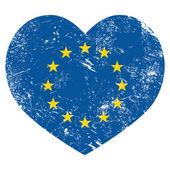EU I love European Union heart retro flag