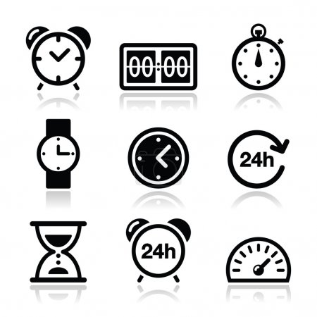 Illustration for Different type of measuring time icons set isolated on white - Royalty Free Image