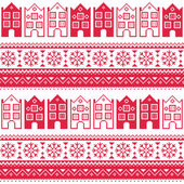 Winter red vector background - scandynavian city kntting style