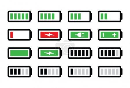 Illustration pour Indicateurs de niveau de charge - icônes de batterie réglées isoalted sur blanc - image libre de droit