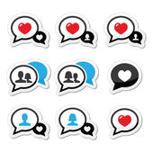 Love speech bubbles with heart vector icons set