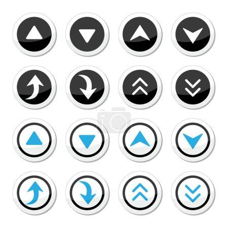 Illustration pour Étiquettes flèches rondes dirigées vers le haut et vers le bas isolées sur blanc - image libre de droit