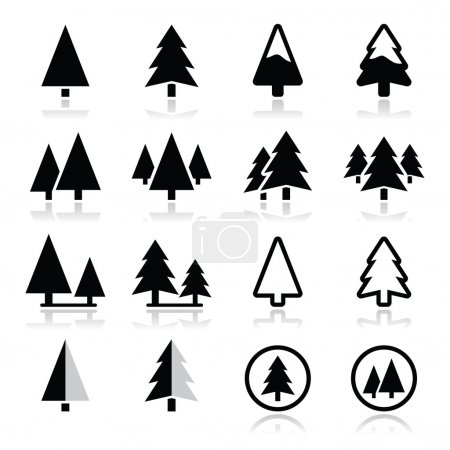 Pine tree vector icons set