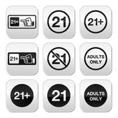 Under 21 adults only warning sign buttons