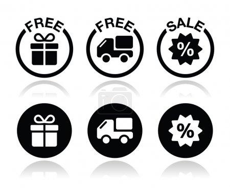 Illustration pour Ensemble d'icônes shopping - cadeau gratuit et livraison, ensemble d'icônes de vente isolé sur blanc - image libre de droit