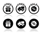 Free gift free delivery sale icons set