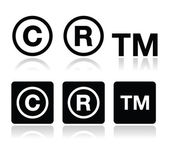 Copyright trademark vector icons set