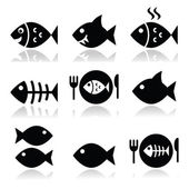 Fish fish on plate skeleton vecotor icons
