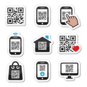 Scanning QR code with smartphone vector labels set isolated on white
