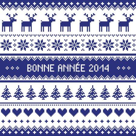 Illustration pour Fond bleu marine pour célébrer le Nouvel An - style tricot nordique - image libre de droit