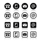 Contact iconsin circle and square set - mobile phone email envelope