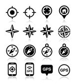 GPS navigation wind rose compass icons set