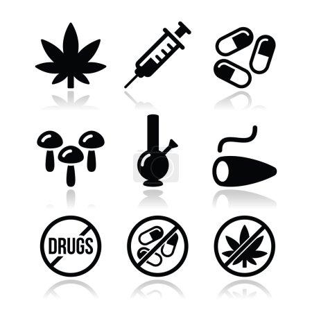 Drugs, addiction, marijuana, syringe icons set