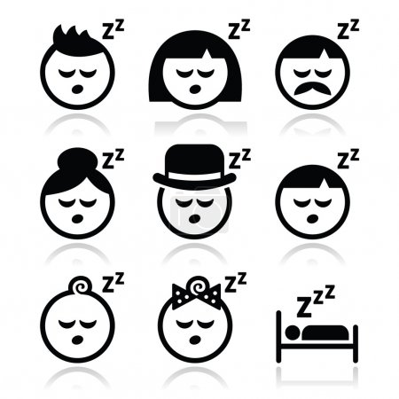 Illustration for Vector icons set of sleeping people isolated on white - Royalty Free Image