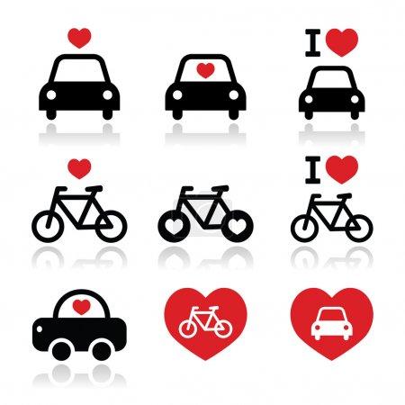 Illustration pour Ensemble d'icônes vectorielles pour les amateurs de voitures et de vélos isolés sur blanc - image libre de droit