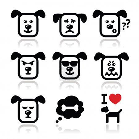 Illustration pour Icônes vectorielles ensemble de charater chien mignon exprimant la colère, le bonheur - image libre de droit