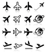 Plane flight airport icons set
