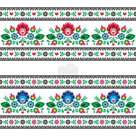 Illustration for Repetitive colorful background - polish folk art decoration elements - Royalty Free Image
