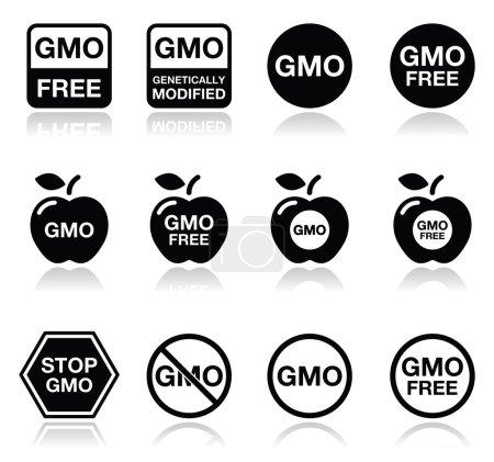 GMO food, no GMO or GMO free icons set