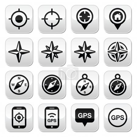 Illustration for Travel, location vector buttons set isolated on white - Royalty Free Image