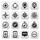 GPS navigation wind rose compass buttons set