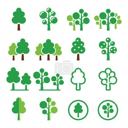 Trees, forest, park vector green icons set