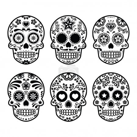 Vector icon set of decorated skull - tradition in ...