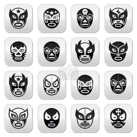 Lucha libre, luchador Mexican wrestling black masks buttons
