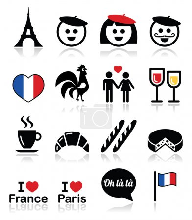 France, I love Paris vector icons set
