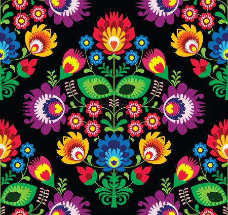 Illustration for Repetitive colorful background - folk art pattern from Poland - Royalty Free Image