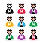 Catholic church pope vector icon set
