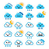 Funny cartoon icons set of clouds with sun moon snow and thunders isolated on white