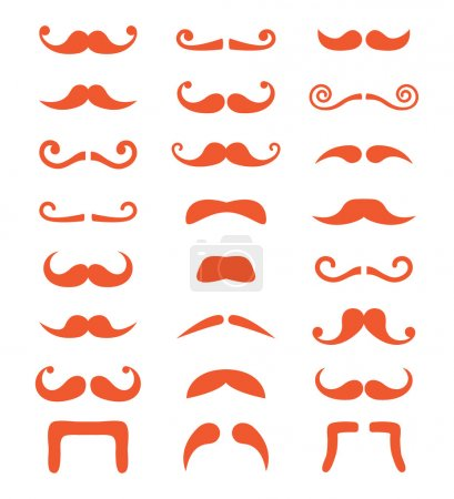 Ginger moustache or mustache vector icons set